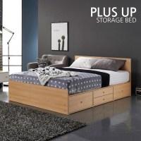 [플러스업] 일반서랍형 수납 더블 침대+본넬 케미컬 매트리스, 오크 (TOP 63663838)