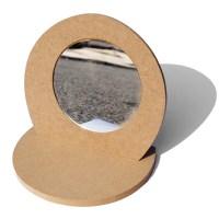 핸디몰 꾸미기용 거울모음(손잡이 모양 통나무 그리기 꽃거울 탁상), 나무탁상거울(반달) (TOP 143148239)