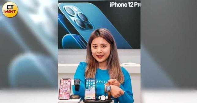 iPhone 12系列新機上市後,引發周邊硬體如三合一充電器、保護殼的買氣搶搶滾。(圖/馬景平攝)