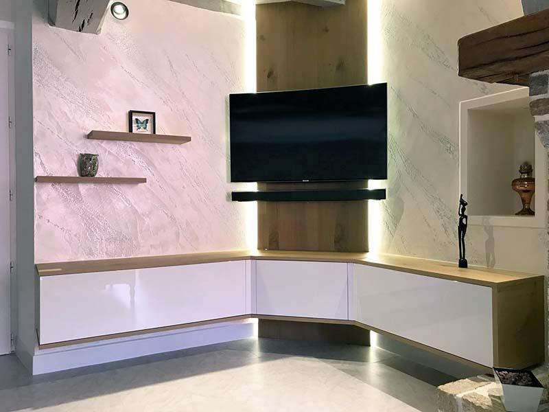 meuble tv suspendu avec led dans un angle