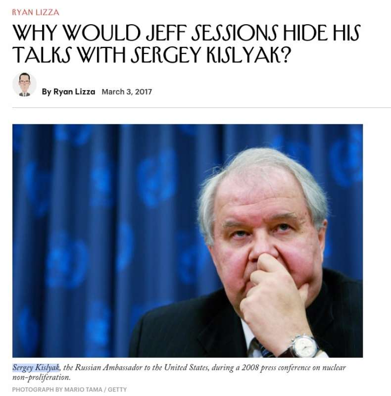 il new yorker su jeff sessions e sergey kislyak con titolo sospettoso