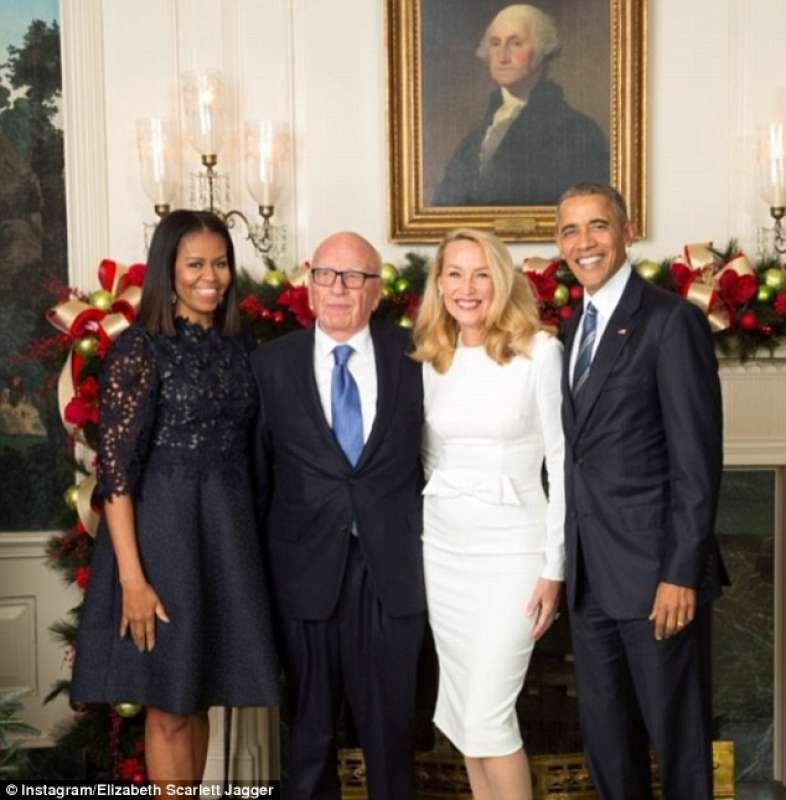barack e michelle obama con rupert murdoch e jerry hall