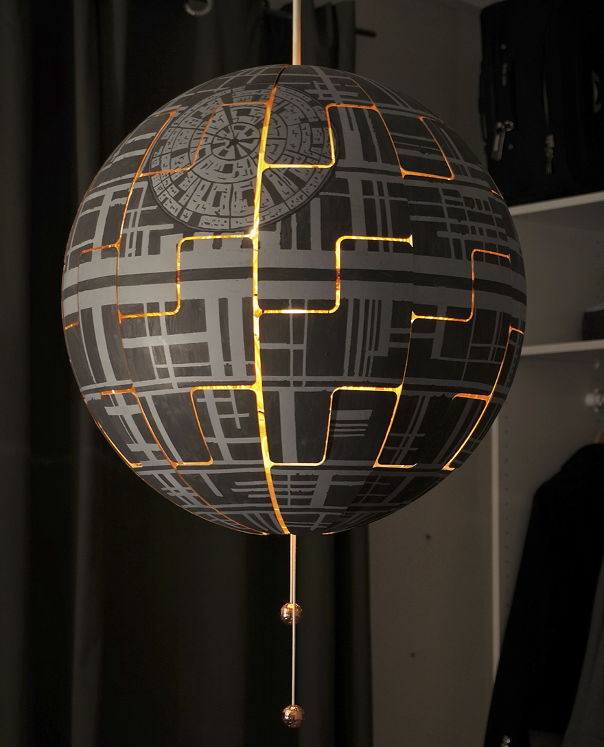 woman turns ikea lamp into a death star
