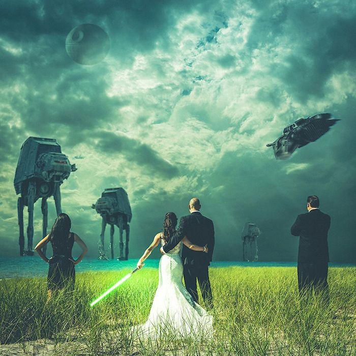 5df743dce730b star wars wedding cory carrie shields 5df23c10ca88f  700 - Casal teve um casamento com o tema Star Wars