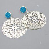 FUSHI Oorbel filligrain plaatje zilver met steker blauw ingelegd rog