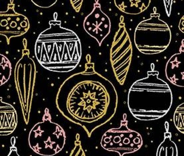 Christmas Hand Drawn Seamless Pattern Abstract Background With Winter And Holiday Elements