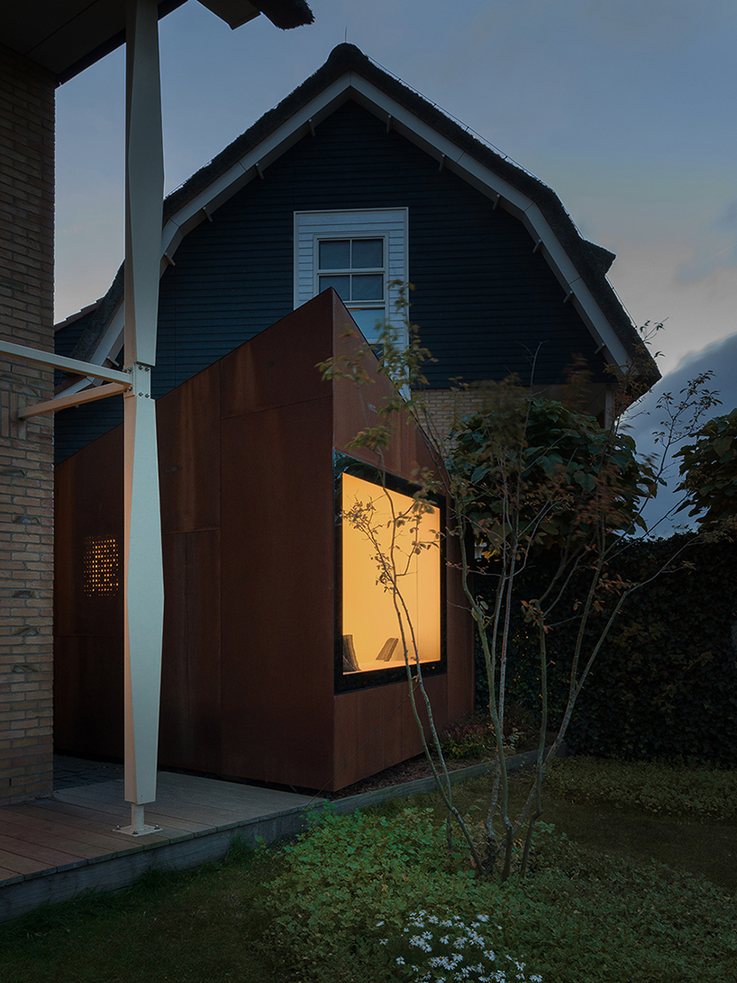 serge schoemaker builds a sculptural home studio of weathering steel in hoofddorp designboom