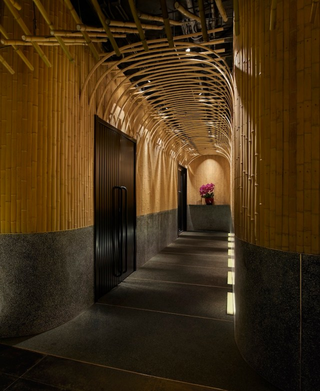 imafuku architects creates a bamboo canopy inside japanese restaurant in beijing