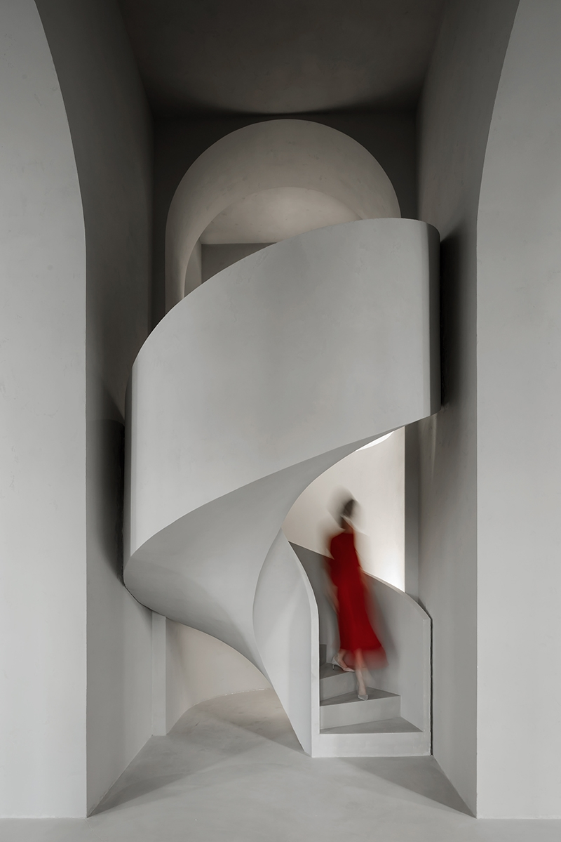 Wall Sculpts A Monolithic Concrete Staircase For Dress Boutique In   Interior Concrete Stairs Design   Architecture   House   White Matte Concrete   Urban   Dark Wood Modern