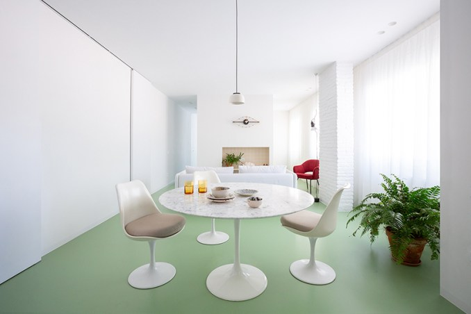 nada designs the picasso apartment in barcelona with a continuous green floor designboom