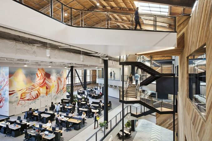 ZGF transforms historic wood-frame hangar into google's playa vista offices in california