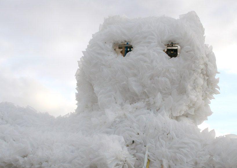 kaja haven builds a giant persian cat with laser machine eyes for copenhagen festival designboom