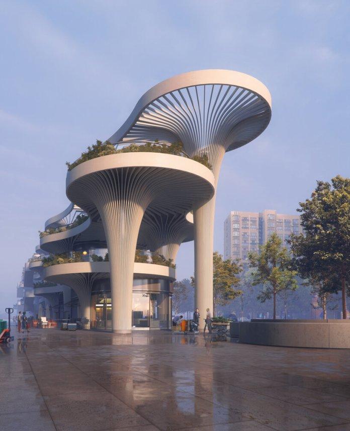 32 solar 'trees' form shanghai marketplace designed by koichi takada architects