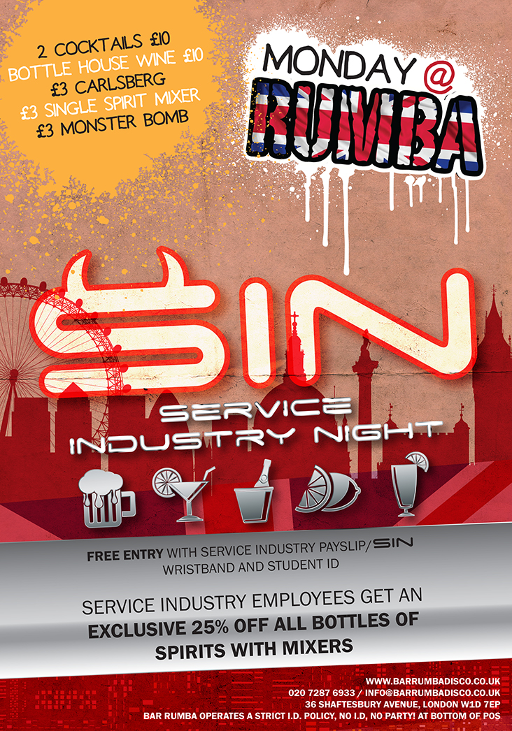 SIN Service Industry Night West End London Clubbing