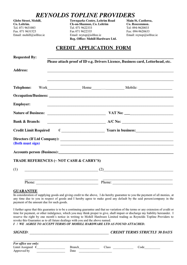 09/03/2016· a credit application form will help secure the credit you extend by making sure that your customers have a stable track record of honoring their debts. Credit Application Form In Word And Pdf Formats