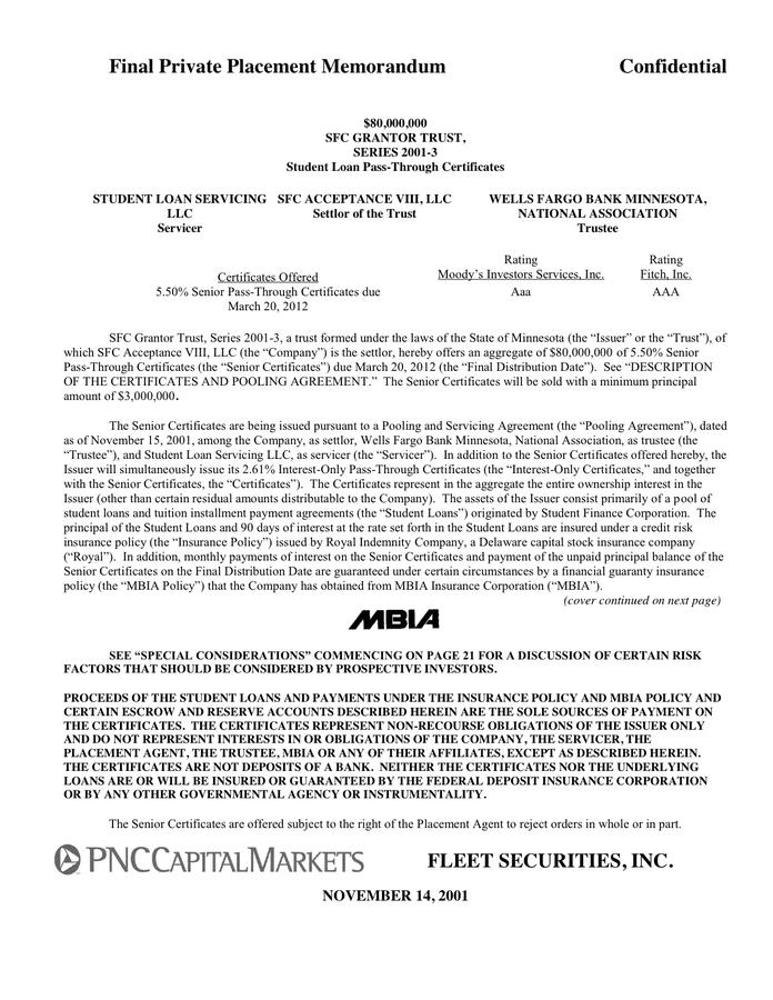 Sample Private Placement Memorandum Download Free