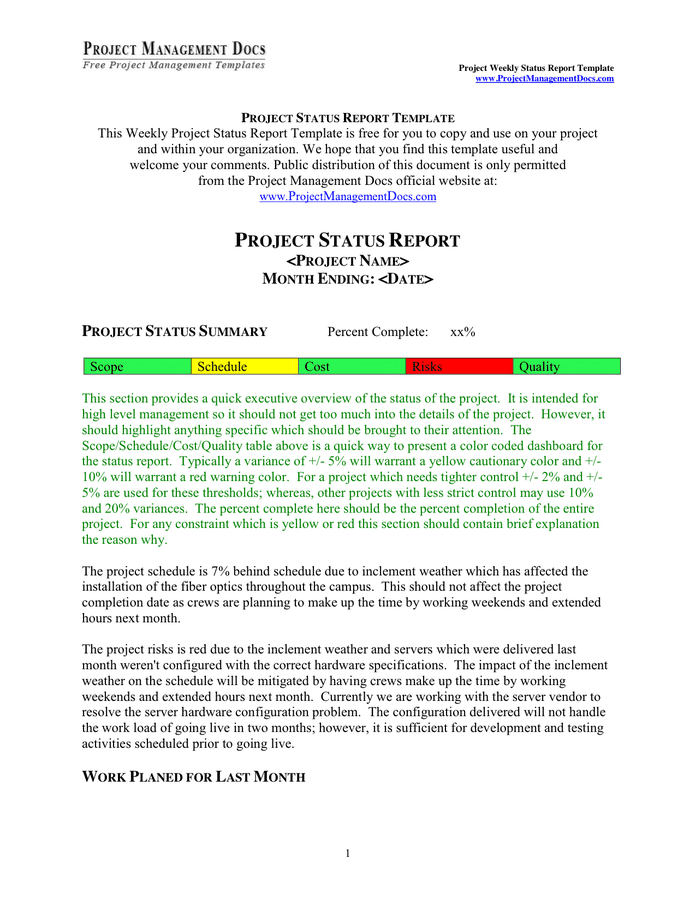 Elegant weekly management report template. Project Weekly Status Report Template In Word And Pdf Formats