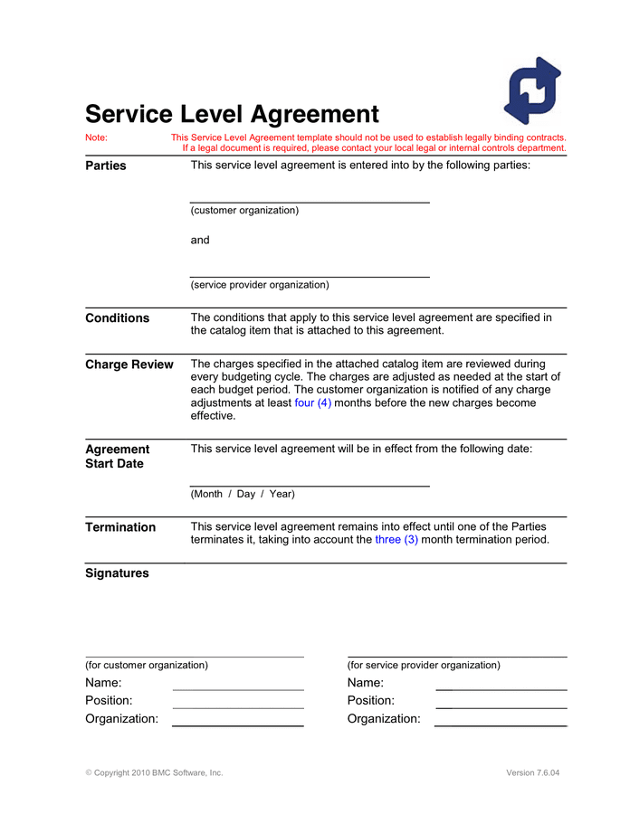 The service level agreement defines the level of service that can be expected from the service provider. Service Level Agreement Template In Word And Pdf Formats