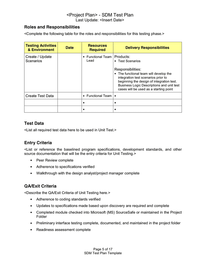 Objective of test plan is to define the various testing strategies and testing tools used for complete testing life cycle of this project. Test Plan Template In Word And Pdf Formats Page 5 Of 17