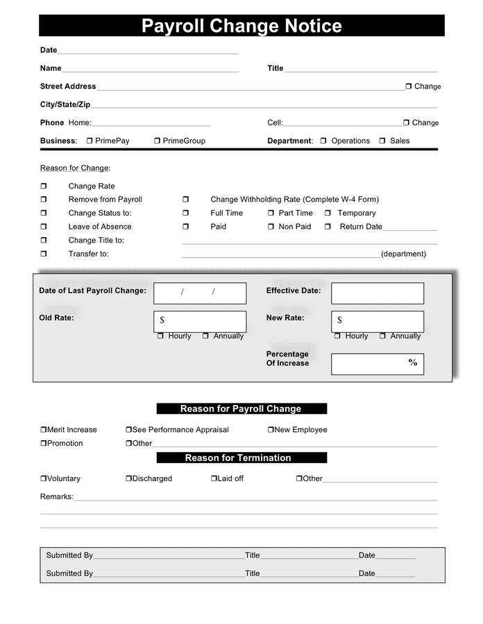 Payroll template forms available in pdf format can usually be filled in an appropriate program, e.g. Payroll Change Notice In Word And Pdf Formats