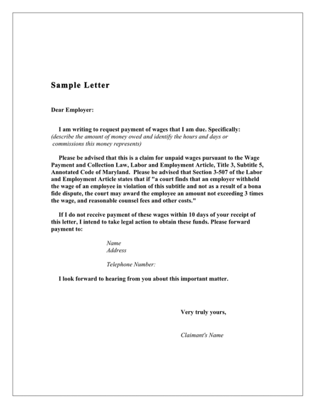Demand Letter To Employer Sample