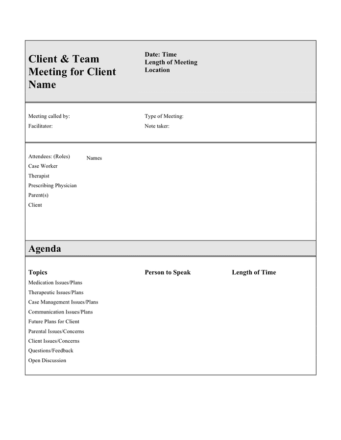 Using an agenda to plan a meeting can help the gathering run smoothly and effectively address key issues or topics. Client And Team Meeting Agenda Template In Word And Pdf Formats