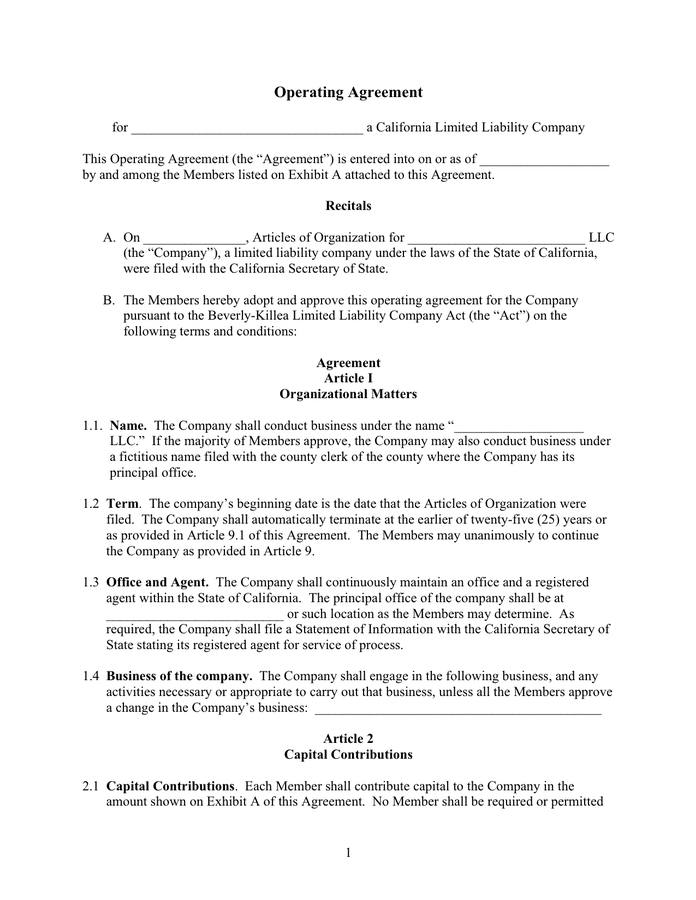 Section 1 the limited liability company Operating Agreement Template In Word And Pdf Formats