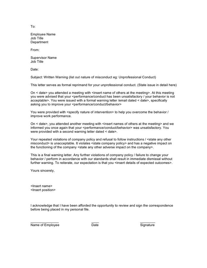Doc 575709 Sample Warning Letter Employee