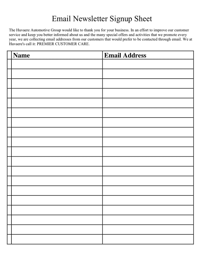 Download email newsletter signup sheet exampletemplate | free printable format Email Newsletter Signup Sheet In Word And Pdf Formats