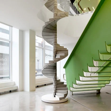 Helix Concrete Spiral Staircase By Matter Design | Semi Spiral Staircase Design | Curved Staircase | Residential Library | Interior | Futuristic | Iron