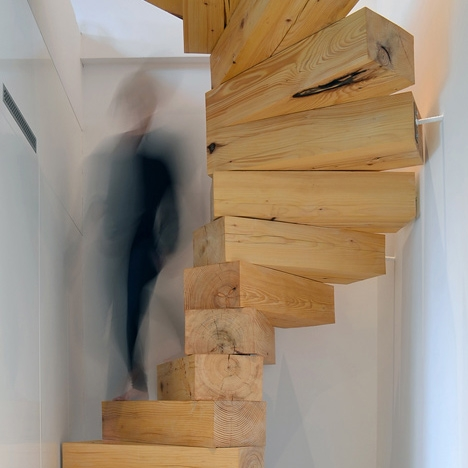 Spiral Staircase Made From Chunky Wooden Blocks By Qc | Stairs Made Of Wood | Pine | Staircase | Wood Plank | Hanging | Custom Made