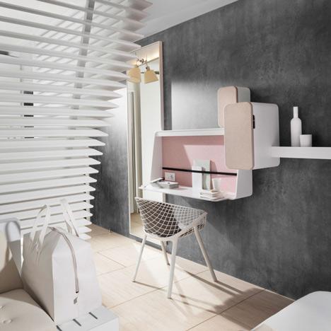 Okko hotel interior by Patrick Norguet with en suites hidden behind louvred walls