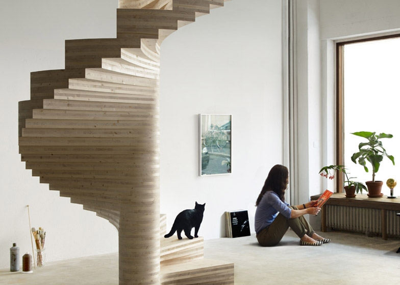 Risa Spiral Staircase By Tron Meyer Features Fanning Timber Steps   Wooden Spiral Stairs Design   Interior   Curved   Space Saving   Rustic   Contemporary