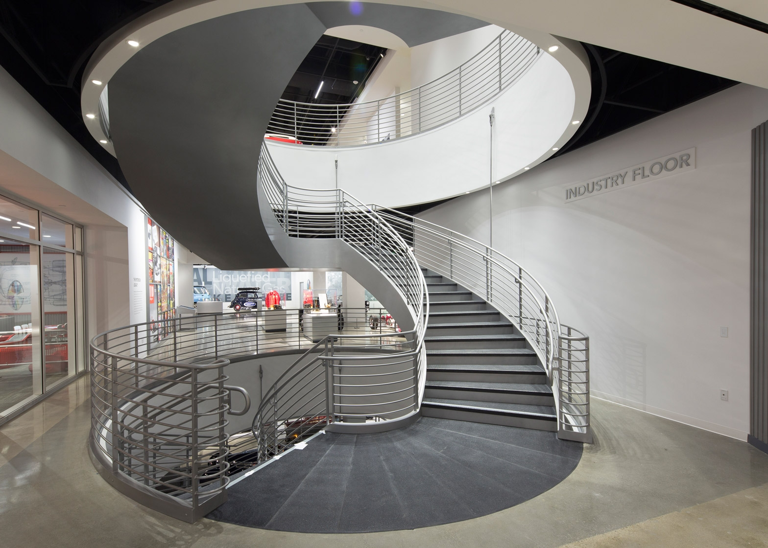 Kpf Wraps An Automotive Museum In La With Ribbons Of Metal | Spiral Staircase Los Angeles | Loft | Handrail | 42 Inch | Romantic | Double Spiral