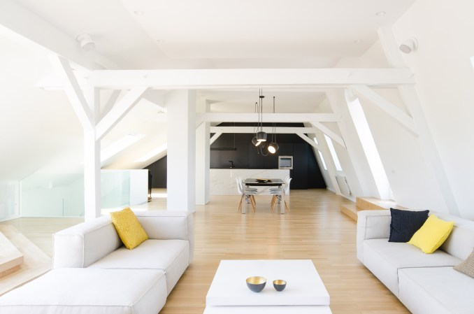 A white-walled attic conversion in France
