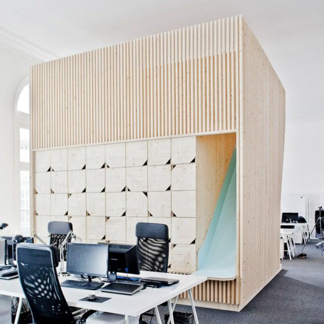 Wooden meeting rooms, France, Estelle Vincent