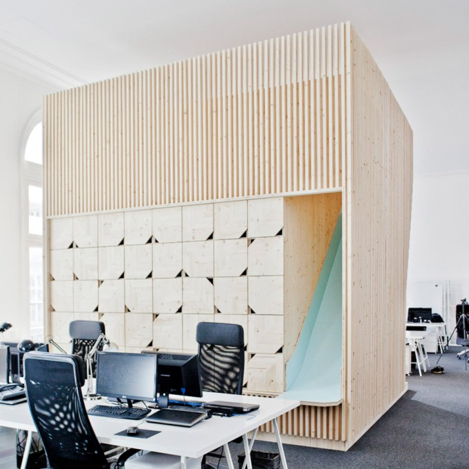 Wooden meeting rooms, France, Estelle Vincent