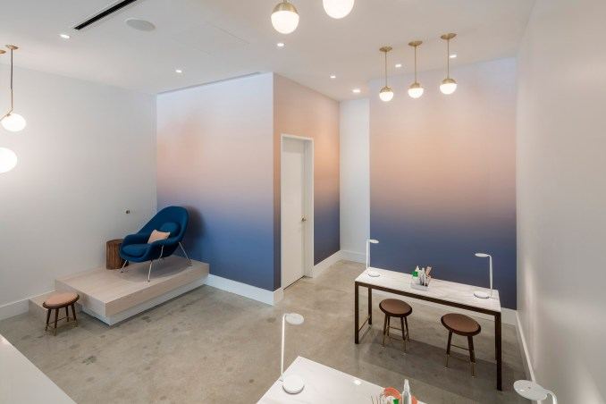Content furnishes Paloma nail salon in Texas with comfy blue