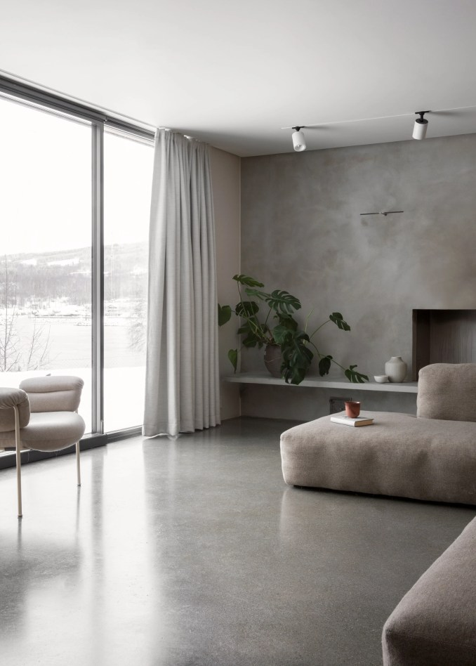 Scandi living room with grey walls
