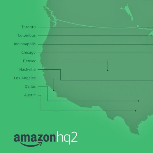 Amazon HQ2 shortlisted cities map