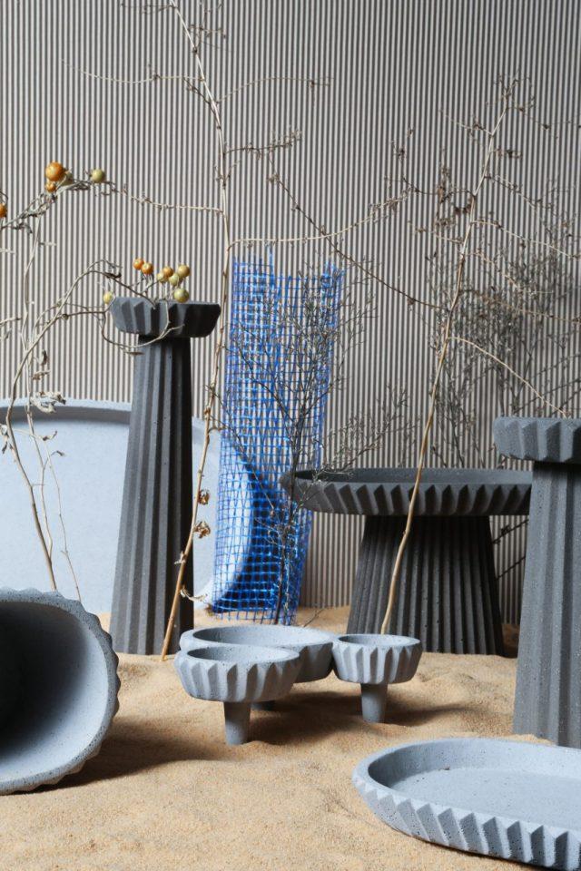 Gian Paolo Venier creates concrete tableware based on ancient Iranian architecture