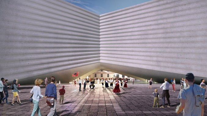 """BIG designs """"bow-tie-shaped"""" theatre for Albania's capital city"""