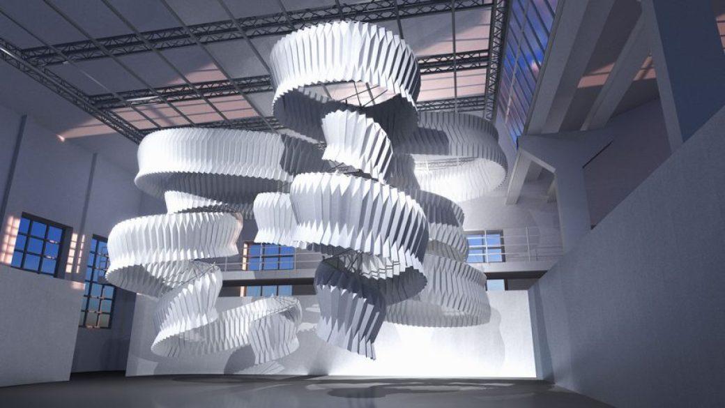 Kengo Kuma's Breath/ng installation for Dassault Systemes