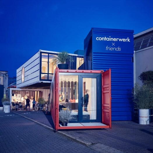 Containerwerk installation in Milan made from shipping containers