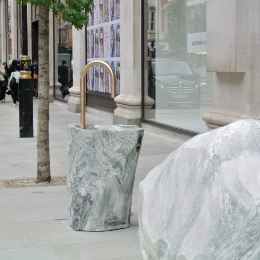 Monolithic street furniture for London's Selfridges by Djao-Rakitine