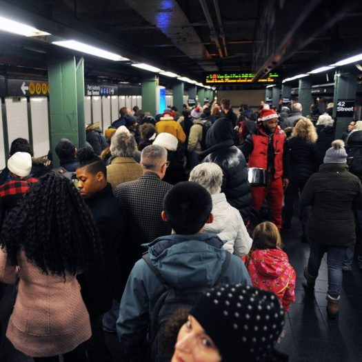 Crowded New York City subway station