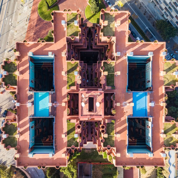 Hungarian photographer Márton Mogyorósy used a drone to capture aerial shots of Barcelona, including Rocardo Bofill's Walden 7