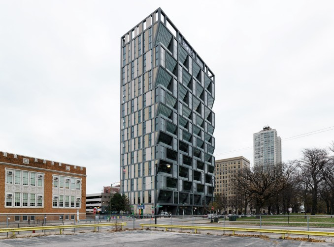 Rieder Group concrete cladding on Solstice on the Park by Studio Gang