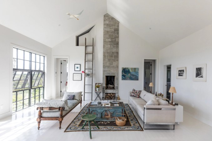 Slim fireplace in Little Peek by Berman Horn Studio