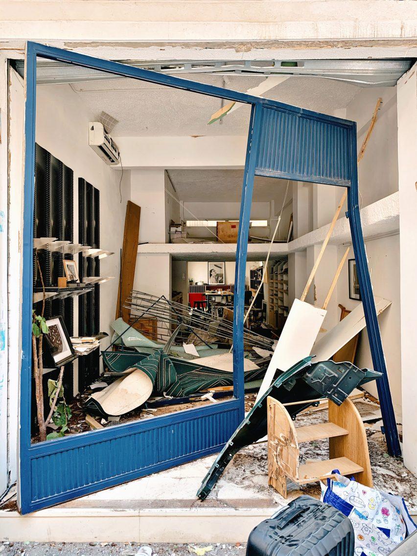 David/Nicolas studio in Beirut after the explosion